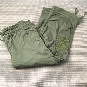 Prana green cargo copped pants